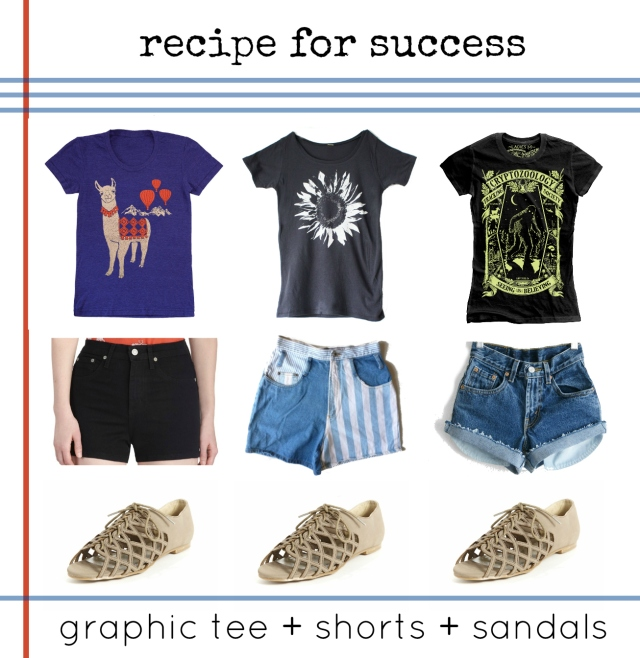 graphic tees and cutoff shorts