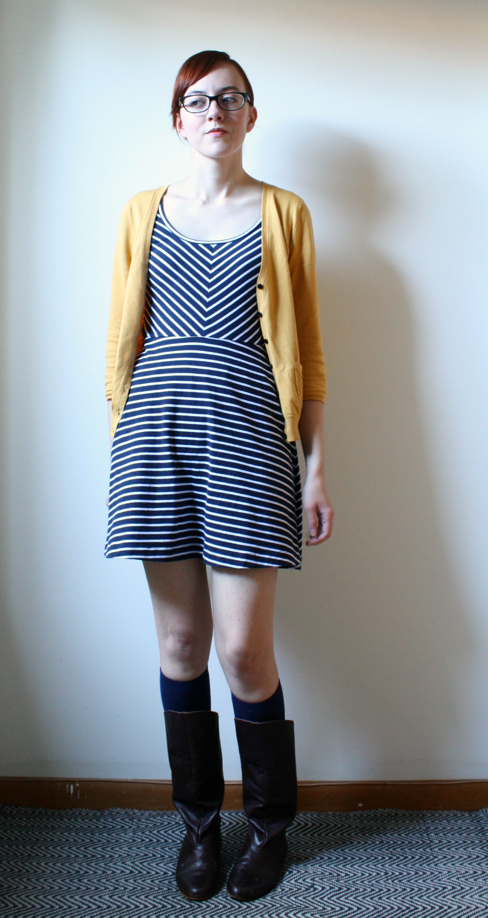 mustard cardigan outfit