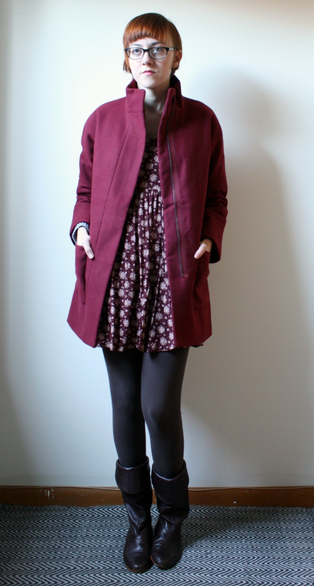 dark red coat
