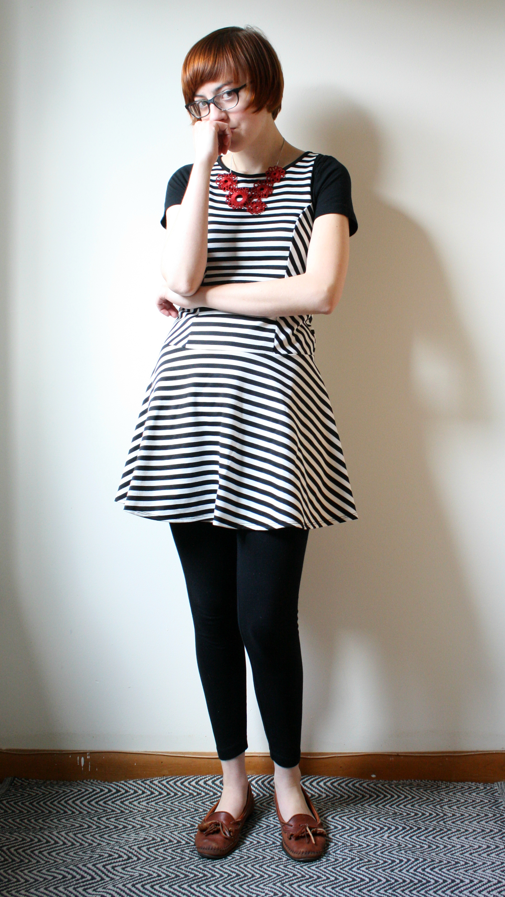 black and white striped dress mod