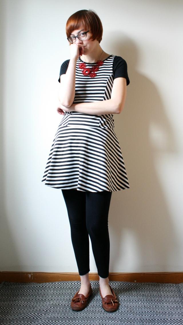 black and white striped dress mod