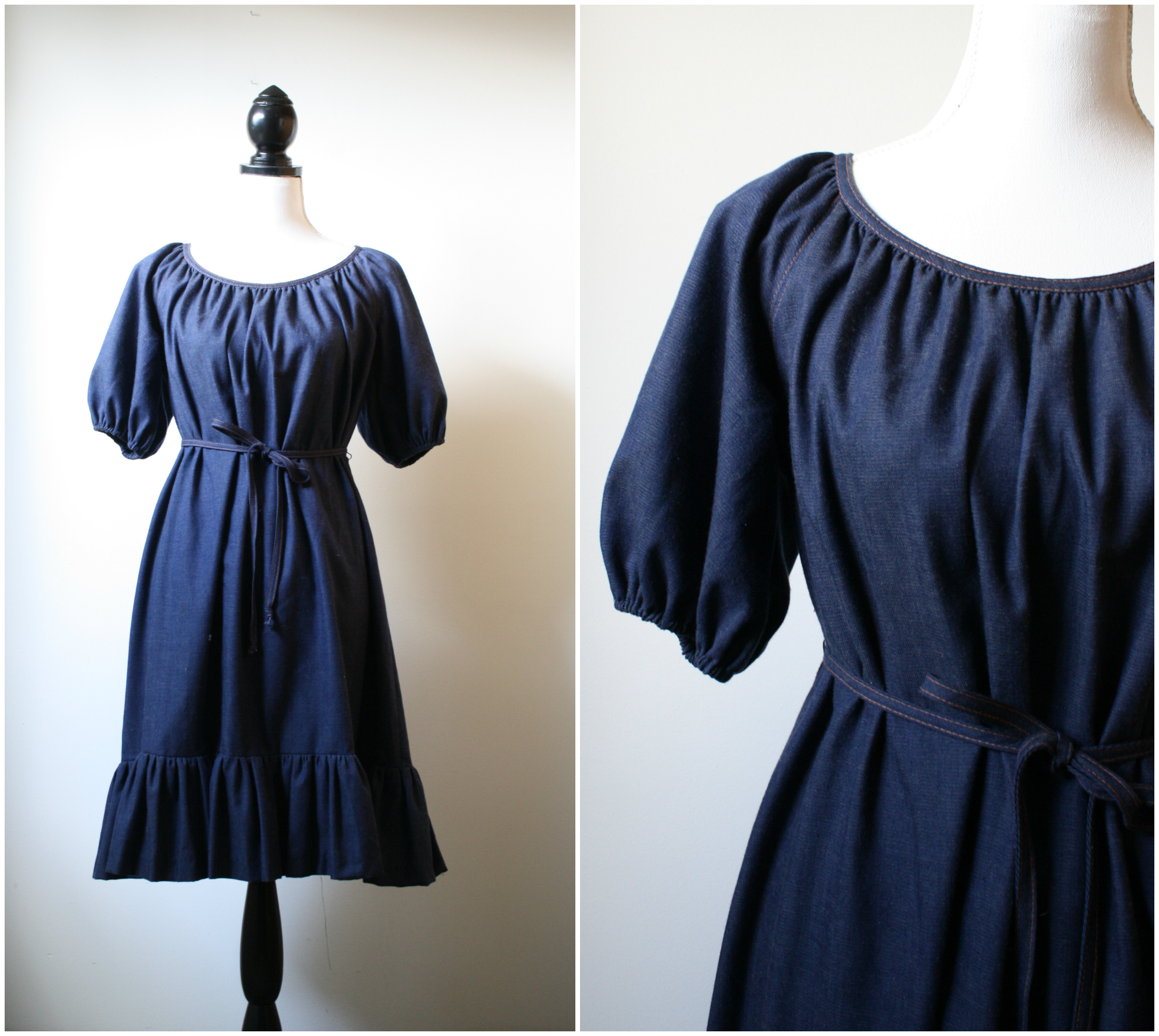 denim tent dress vintage 1970s platinumandrust.com