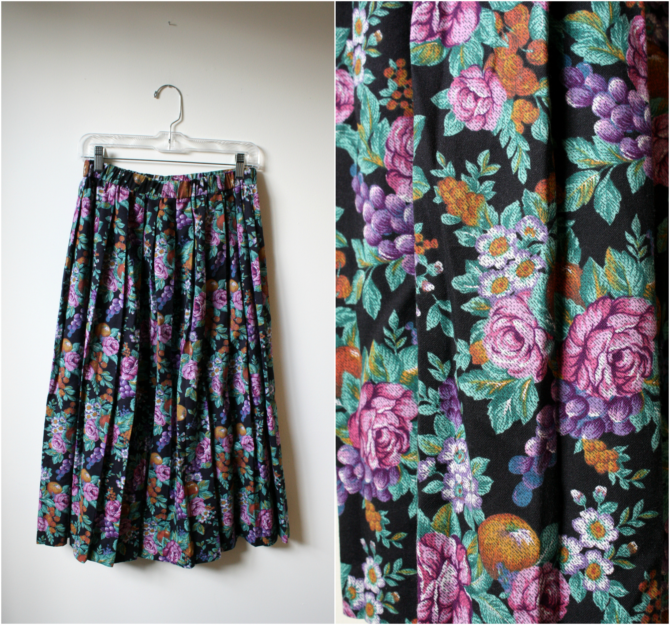 vintage fruit print skirt